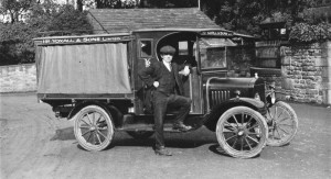 Harry YOXALL and his van about 1919-1921. The family ran several upmarket Grocers in the area and were regarded as the Harrods of the North to locals.