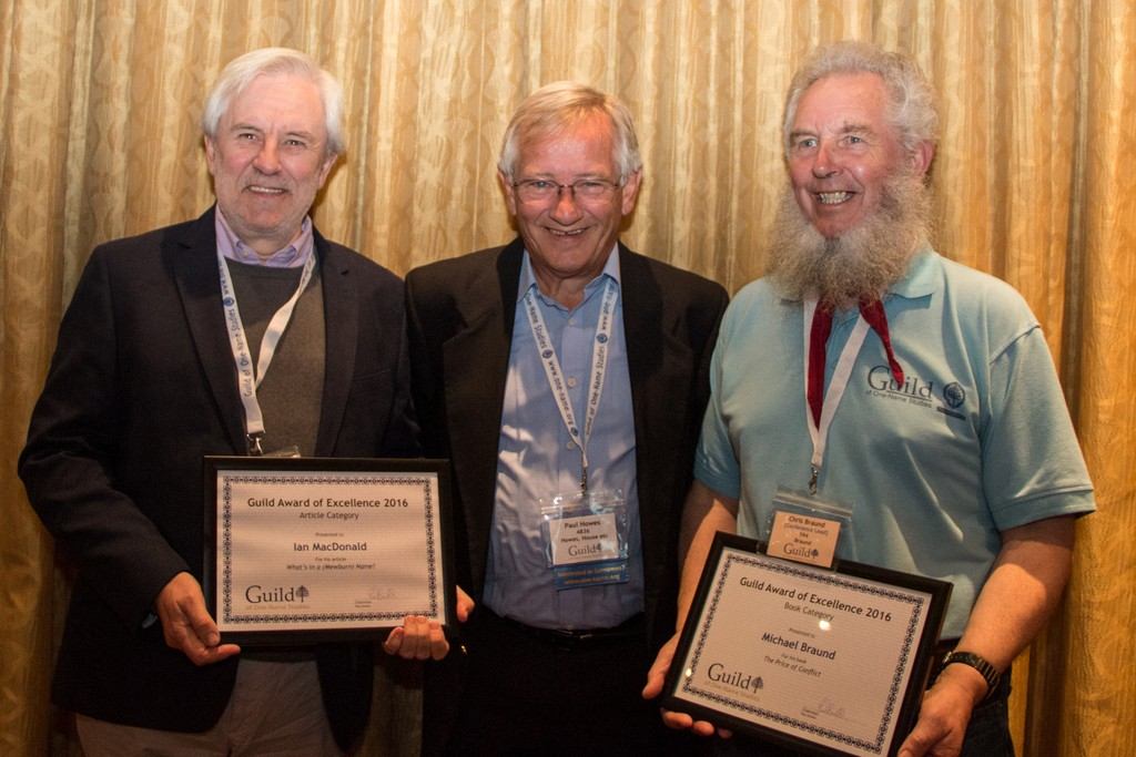 Paul Howes – Chairman (centre) with two of the recipients of the Guild Certificate of Excellence – Ian Macdonald and Chris Braund (accepting on behalf of Michael Braund