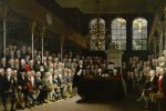 Painting of the original House of Commons chamber 1793, and before it was destroyed by fire, causing complete rebuild to what we see today