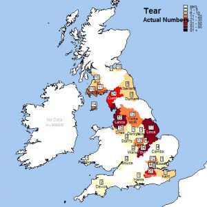 1881 Tear Distribution Map
