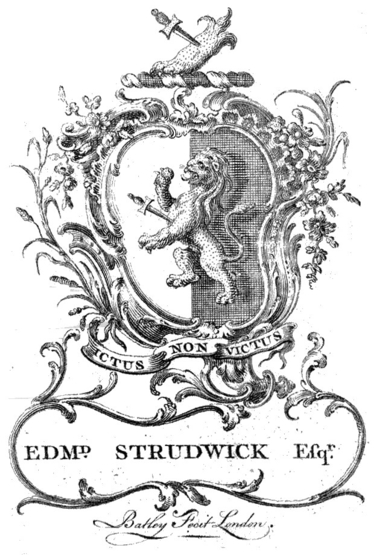 Bookplate of Edmund Strudwick Esq