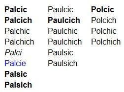 Palcic variants