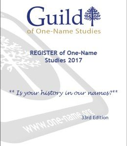 Register of One-Name Studies 2017