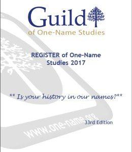 Register of One-Name Studies 2017